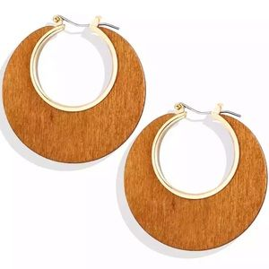 Wooden boho hoops, light brown, NEW
